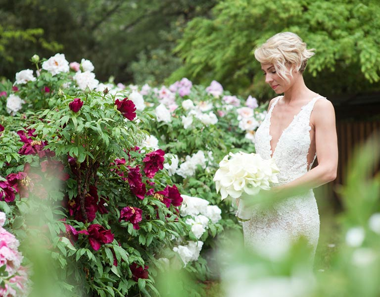 Bride with bouquet | Weddings at Brooklyn Botanic Garden