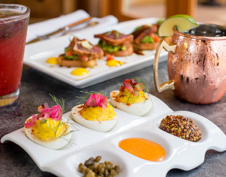Ahi Bruchetta and Deviled Eggs served at Catal Restaurant in Anaheim, CA