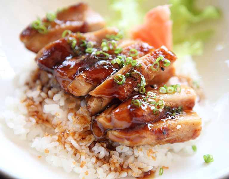 Chicken teriyaki served at Chef Street in NYC