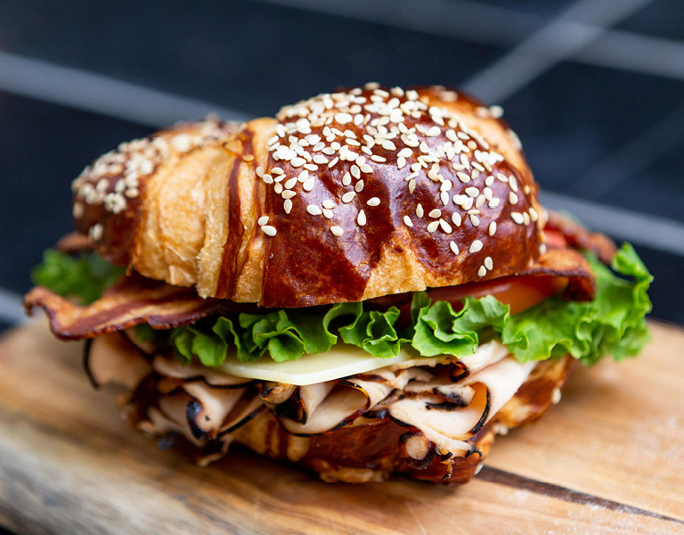 Food Hall Featuring Pretzel Bun Sandwich and Casual Dining for Lunch in Santa Monica