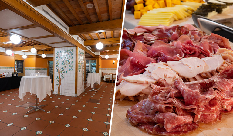 PRIVATE EVENTS IN MIDTOWN view of the dining area and select cuts of meats