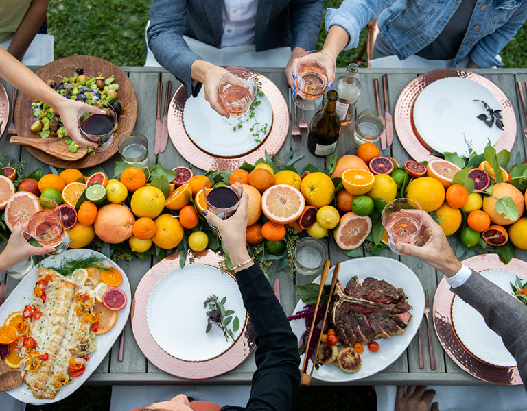 The Kitchen Citrus Dinner with Fish and Steak served at The Kitchen at Descanso at Descanso Gardens
