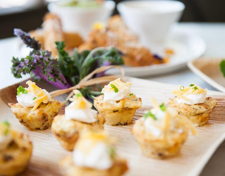 The Kitchen Mini Cornbread Tray Passed Appetizer served at The Kitchen at Descanso at Descanso Gardens