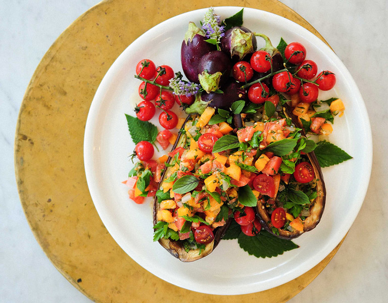 The Kitchen Eggplant and Veggie Dish served at The Kitchen at Descanso at Descanso Gardens