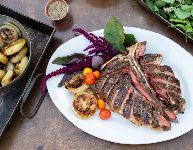 The Kitchen T-Bone Steak served at The Kitchen at Descanso at Descanso Gardens