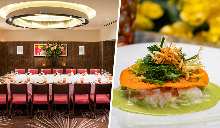 Private dining room event space inside La Fonda del Sol in NYC and crab salad