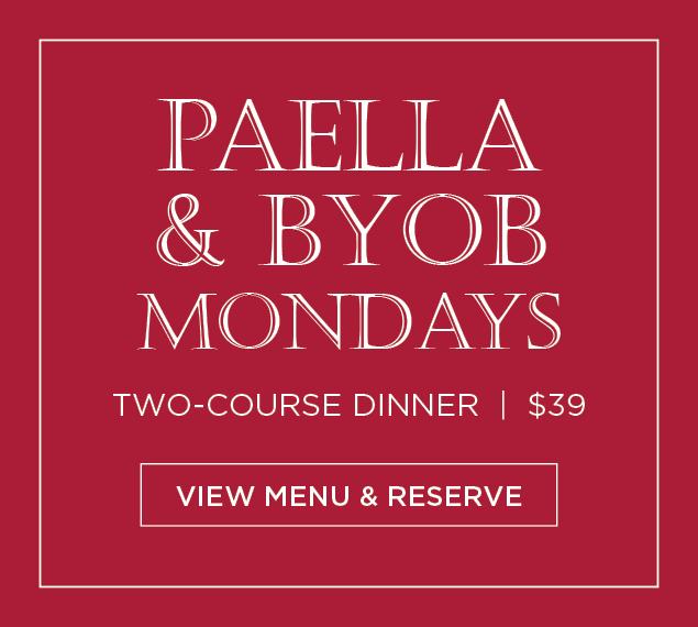 View Menu & Reserve | Paella & BYOB Mondays at La Fonda del Sol in NYC | Two-Course Dinner | $39