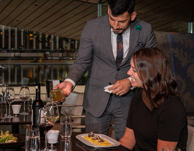 Table side sommelier service at Lincoln Ristorante in New York City