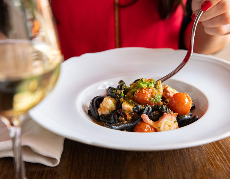Squid Ink Pasta served at Lincoln Ristorante in New York City
