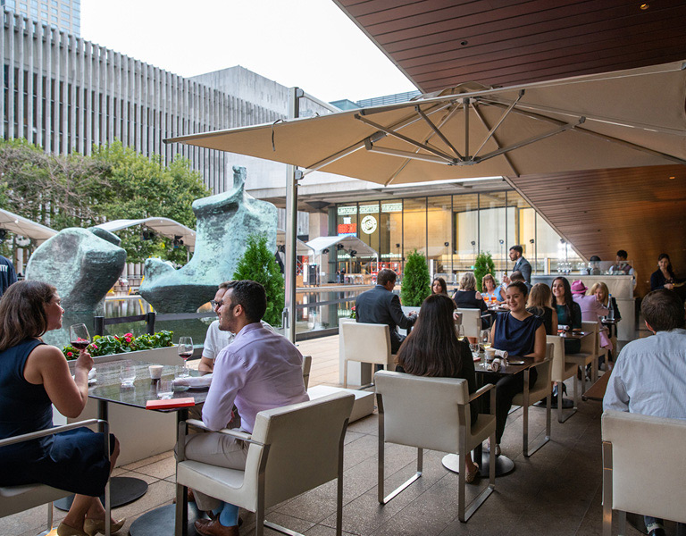 Outdoor dining on Lincoln Ristorante's terrazza in New York City