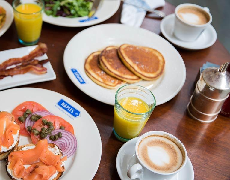 Breakfast table spread, MetLife Building restaurant