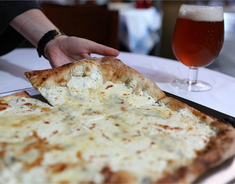 White pizza, Italian restaurant, MetLife Building, NYC