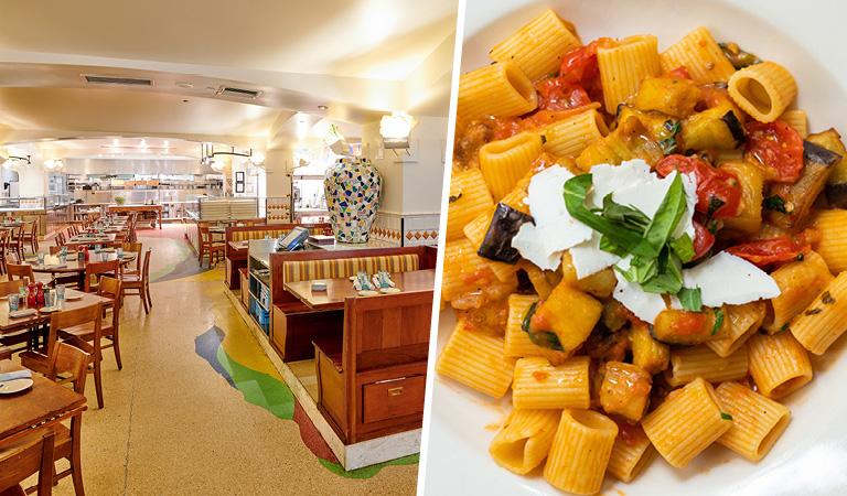 Main Dining Area and Pasta at Naples 45 Ristorante e Pizzeria   NYC Private Event Space
