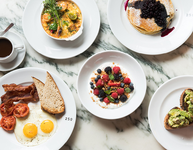 Brunch dishes served at Patina 250 in downtown Buffalo, NY