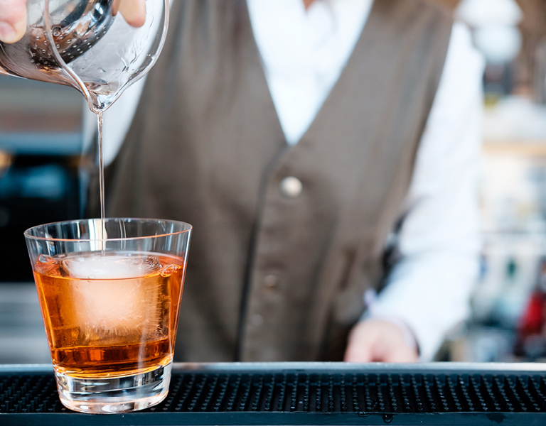 A cocktail is poured at Patina 250 in downtown Buffalo, NY