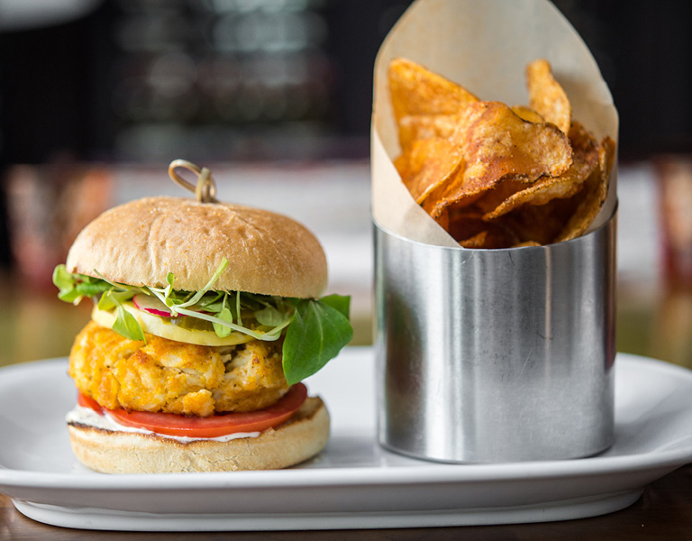 Crab cake sandwich served at Patina 250 in downtown Buffalo, NY