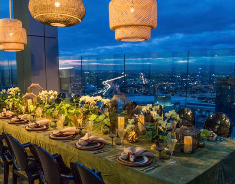 table setting at night