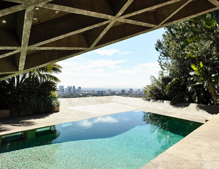 Outdoor pool at the Sheats-Goldstein Residence in Los Angeles