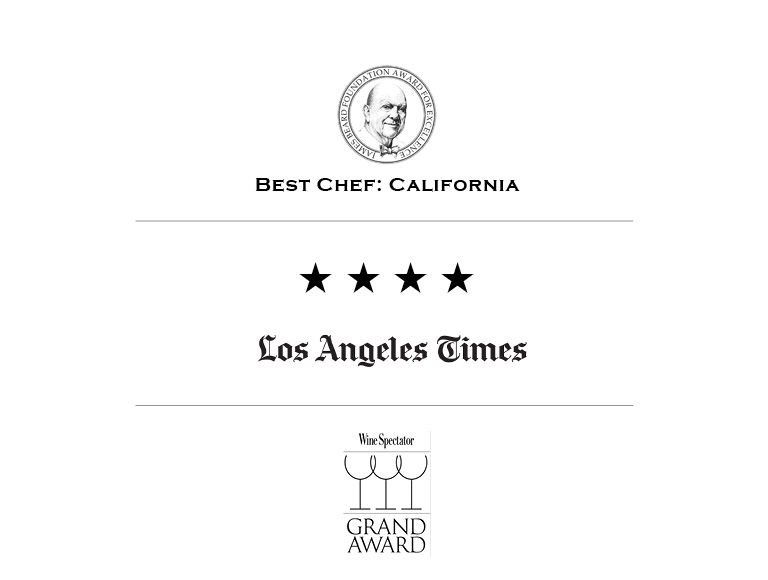 Patina Restaurant accolades from the James Beard Foundation Award for Excellence, Los Angeles Times, and Wine Spectator