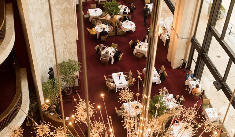 Dining area inside The Grand Tier Restaurant in NYC