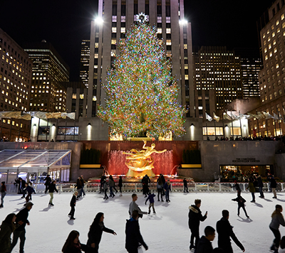 Ice Skating Rink with Christmas Tree at Rockefeller Center, NYC