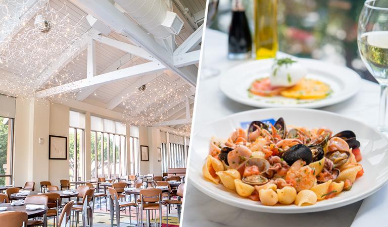 Naples Ristorante E Bar interior and seafood pasta entrée