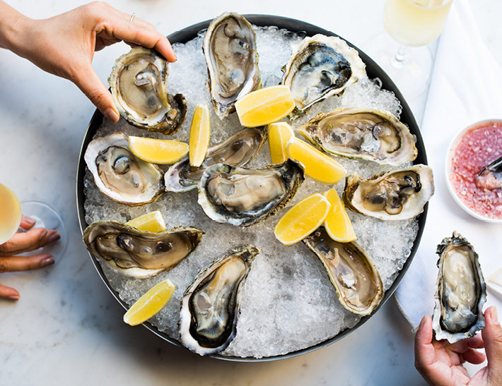 Oysters served outdoors in NYC