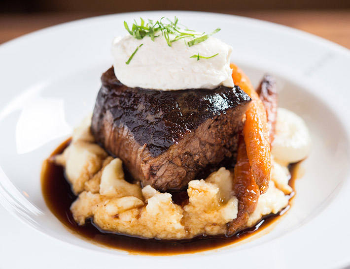 Short rib served at Nick + Stef's Steakhouse in NYC