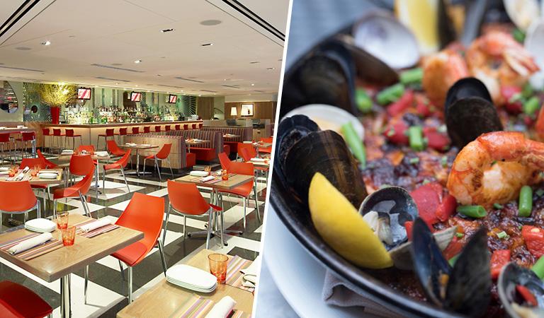 Private Events at La Fonda del Sol | Dining Room area | Paella