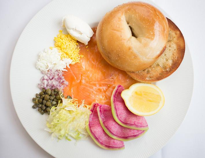 Bagel and smoked salmon