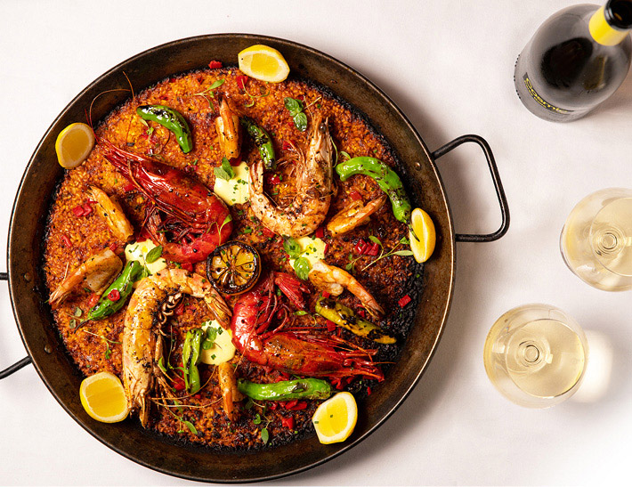 Seafood paella served at La Fonda del Sol in NYC