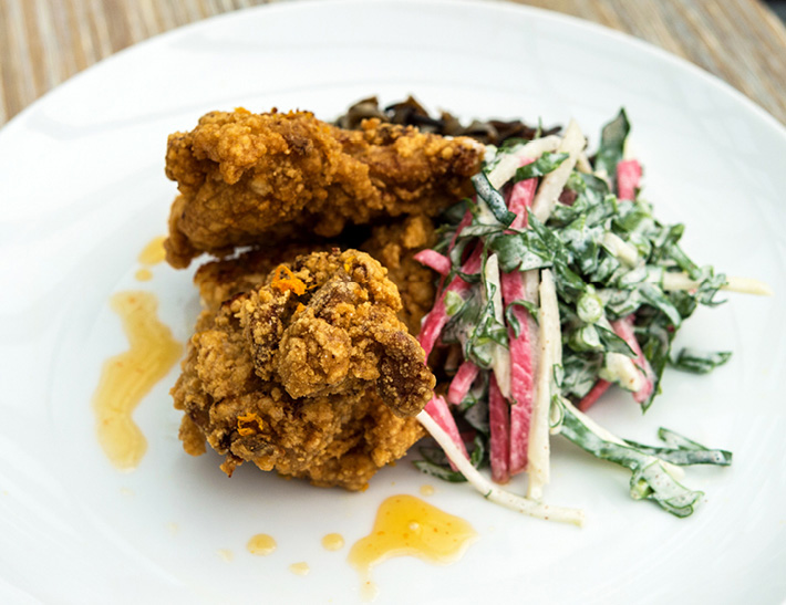 Fried chicken served at Yellow Magnolia Cafe located inside Brooklyn Botanic Garden