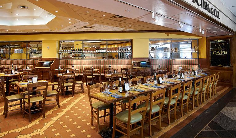 Dining area inside Cucina & Co. at Rockefeller Center
