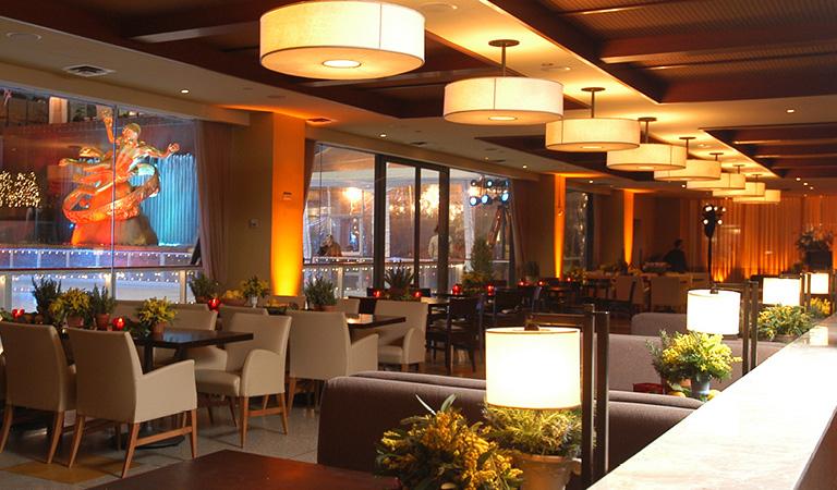 Dining area inside Rock Center Cafe in Rockefeller Center
