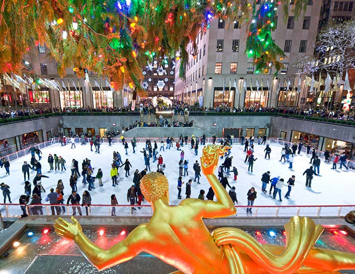 Ice skating at The Rink, Rockefeller Center, NYC