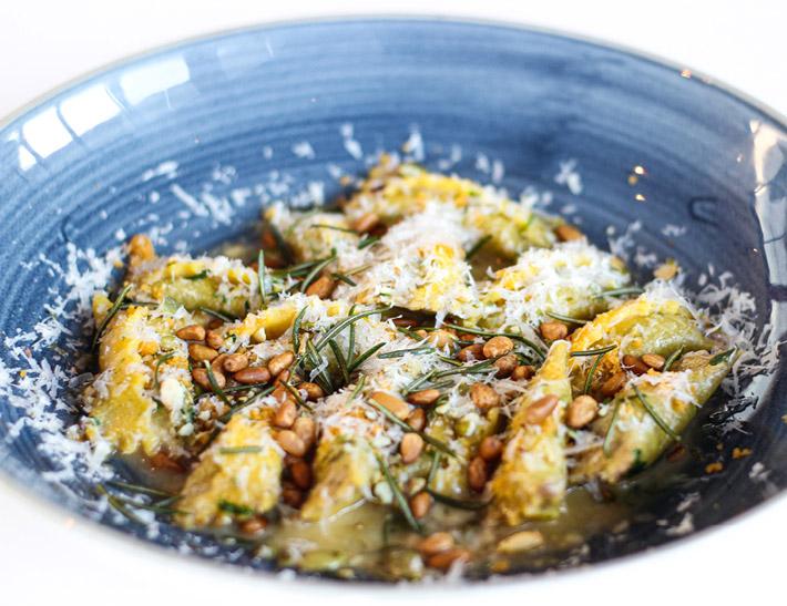 Okinawa Sweet Potato Agnolotti served at Ray's + Stark Bar on the LACMA campus